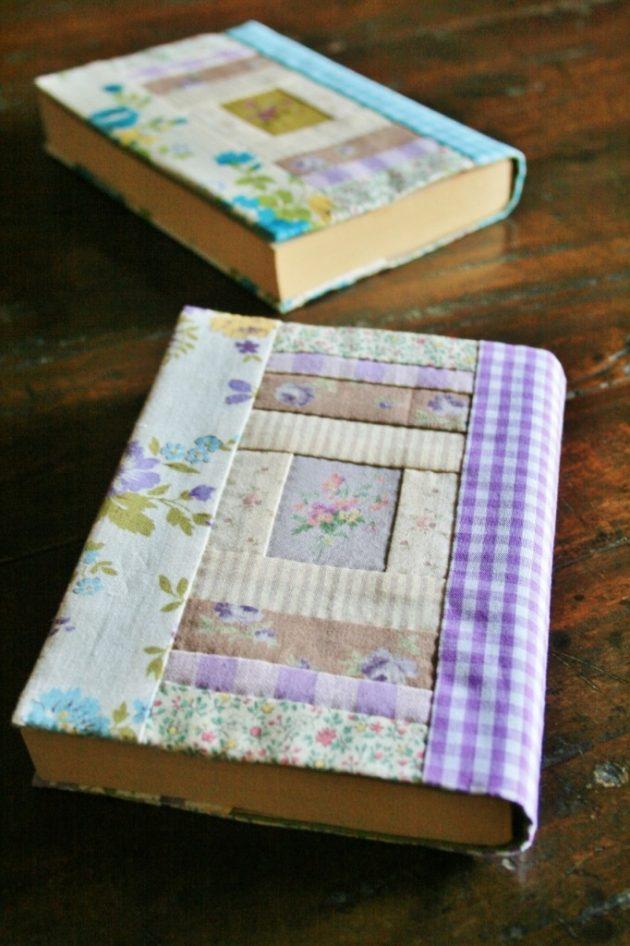 花とギンガムの文庫本カバー